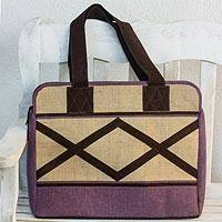 Jute and linen travel bag, 'Lilac Voyage' - Jute and Linen Lilac Travel Bag with Suede Leather Accents