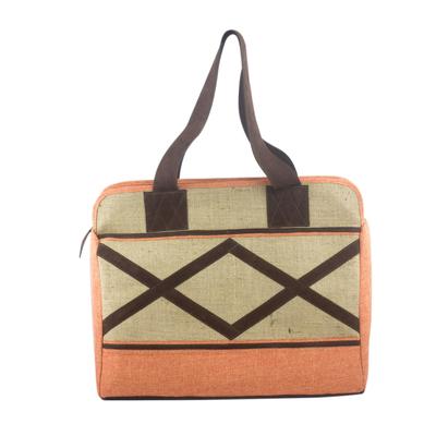 Novica Jute and linen shoulder bag, Lilac Whisper