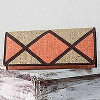 Jute and linen wallet, 'Orange Credit' - Women's Wallet in Jute and Linen with Suede Leather Accents