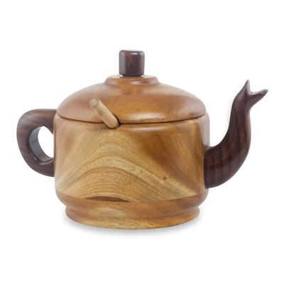 Mahogany and hormigo wood sugar bowl, 'Tea Time' (3 pieces) - Mahogany and Granadillo Wood Sugar Bowl and Spoon