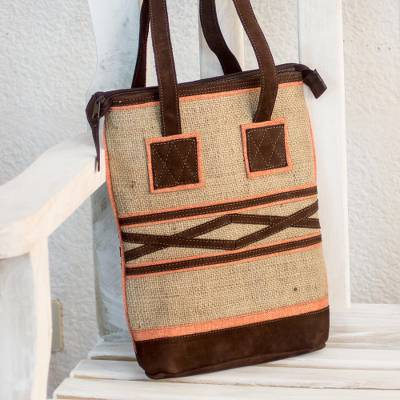 Jute and linen shoulder bag, 'Orange Whisper' - Jute Shoulder Bag with Orange Linen and Brown Suede Accents