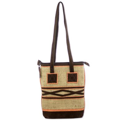 Jute and linen shoulder bag, 'Orange Whisper' - Jute Shoulder Bag with Orange Linen and Brown Suede Accents
