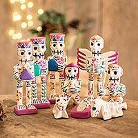 Rustic wood nativity scene, 'Holy Skeletal Night' (set of 9)