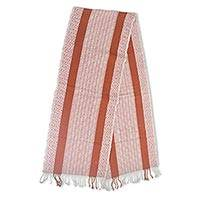 Cotton table runner, 'Terracotta Pathways' - Hand Woven Geometric Cotton Table Runner