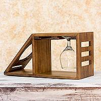 Wood wine bottle and glasses holder, 'Organic Minimalism' - Artisan Crafted Wood Holder for Wine Bottle and Glasses