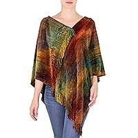 Cotton blend poncho, 'Magical Dawn' - Hand Woven Cotton Bamboo fibre Blend Poncho