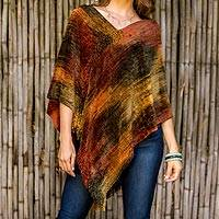 Cotton blend poncho, 'Magical Dusk' - Brown Orange Handmade Cotton Bamboo fibre Blend Poncho