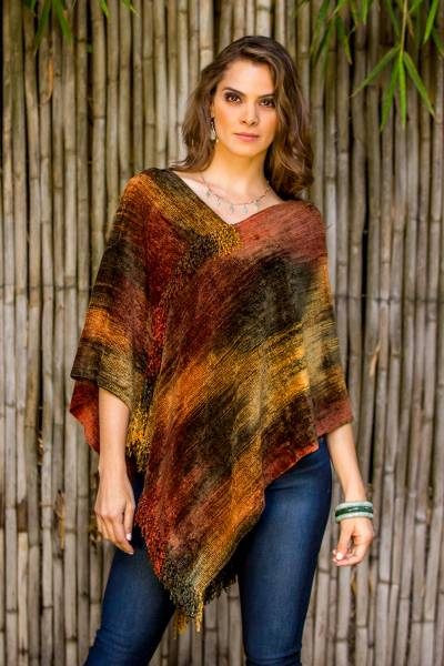 Cotton blend poncho, Magical Dusk
