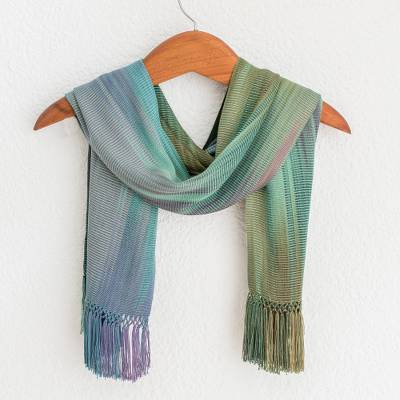 Rayon chenille scarf, 'Iridescent Pastels' - Purple Green Hand Crafted Bamboo fibre Scarf