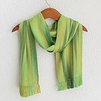 Rayon chenille scarf, 'Iridescent Green Pastels' - Light and Dark Green Hand Woven Rayon Scarf