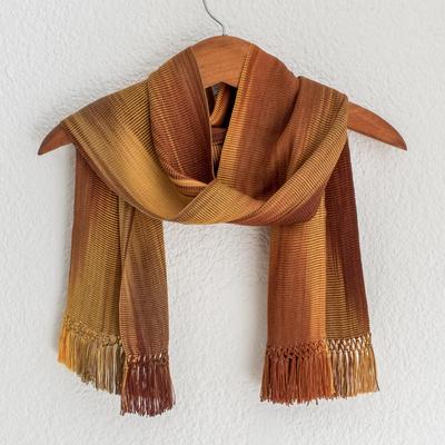 Rayon chenille scarf, 'Iridescent Ocher' - Ocher and Copper Hand Woven Bamboo fibre Scarf