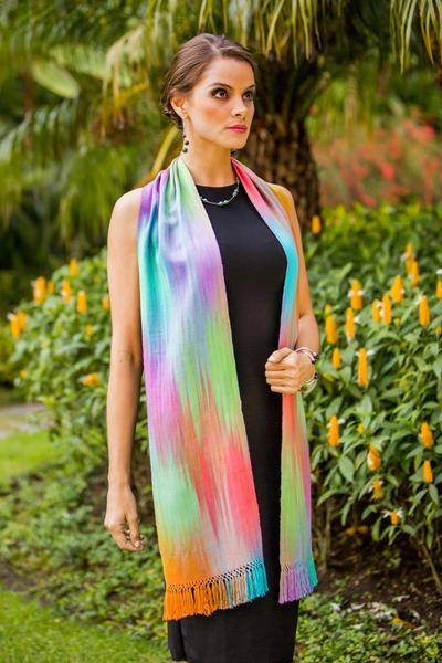 Rayon chenille scarf, 'Iridescent Rainbow Pastel' - Pastel Multi colour Guatemalan Scarf Hand Woven Bamboo