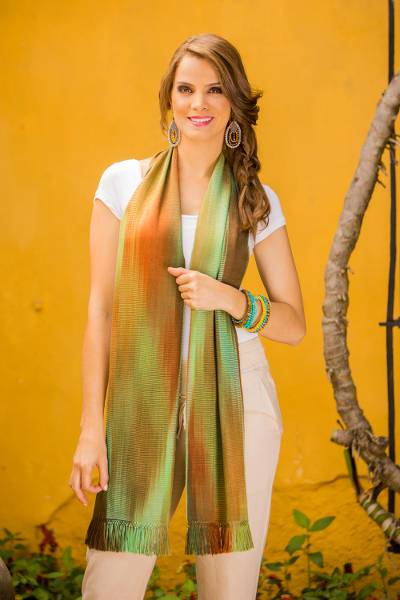 Rayon chenille scarf, 'Iridescent Green Brown Pastels' - Bamboo fibre Hand Woven Scarf from Guatemala