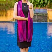 Rayon chenille scarf, 'Iridescent Purple' - Purple Fuchsia Lilac Guatemalan Scarf Hand Woven Bamboo