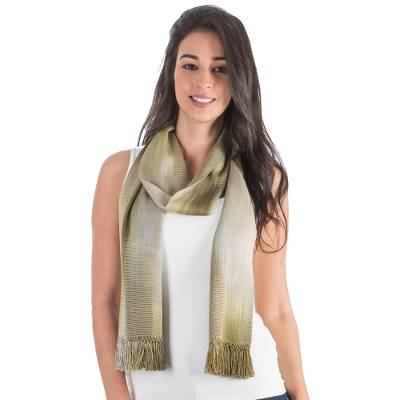 Rayon chenille scarf, 'Iridescent Olive' - Grey Olive Green Hand Made Rayon Chenille Scarf