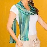 Rayon chenille scarf, 'Iridescent Emerald' - Hand Woven Bamboo fibre Scarf in Light and Dark Green