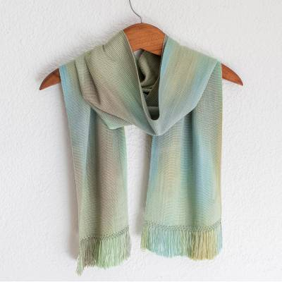 Rayon chenille scarf, 'Iridescent Mint Pastel' - Hand Woven Pastel Blue Green Rayon Chenille Scarf