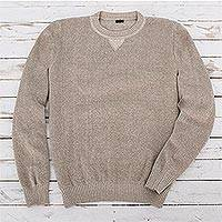Men's cotton pullover sweater, 'Sporting Elegance' - Men's Beige Cotton Pullover Sweater from Guatemala