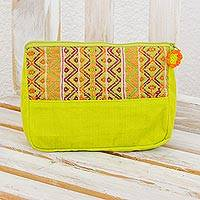 Cotton cosmetic case, 'Tropical Whisper' - Handwoven Lime Green and Purple Cosmetic Case