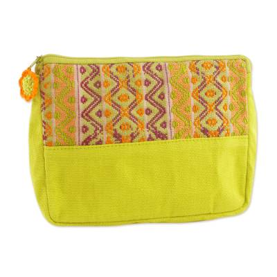 Handwoven Lime Green and Purple Cosmetic Case