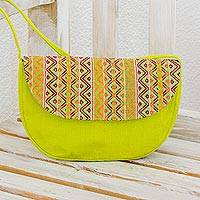 Cotton shoulder bag, 'Tropical Whisper' - Hand Woven Lime Green Shoulder Bag from Guatemala