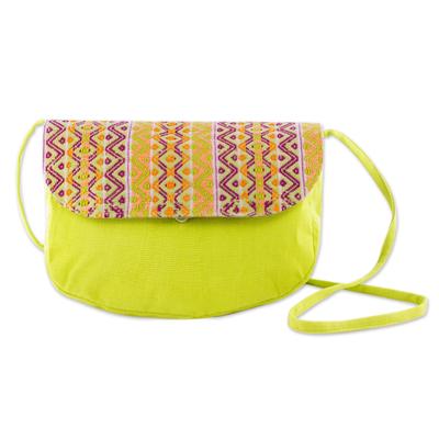 Cotton shoulder bag, 'Tropical Whisper' - Hand Woven Lime Green Shoulder Bag from Guatemala