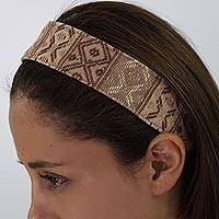 Cotton headband, 'Earth Whisper' - Guatemalan Hand Woven Brown Beige Cotton Head Band