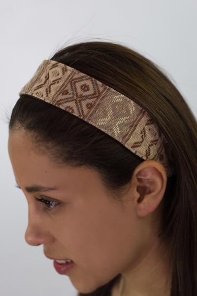 Cotton headband, 'Earth Whisper' - Guatemalan Hand Woven Brown Beige Cotton Head Band