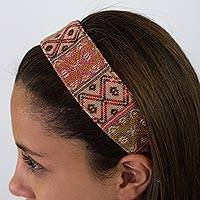 Cotton headband, 'Rose Whisper' - Artisan Crafted Head Band in Pink and Brown from Guatemala