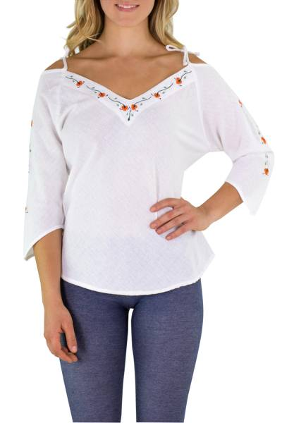 Cotton blouse, 'El Salvador Orange Roses' - Floral Embroidery on Cotton Blouse Top from Central America