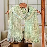 Rayon chenille scarf, 'Aqua Mist' - Maya Backstrap Handwoven Aqua Chenille Scarf