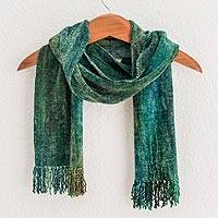 Featured review for Rayon chenille scarf, Precious Teal