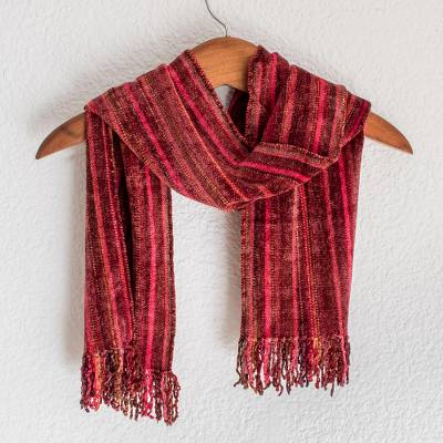 Rayon chenille scarf, 'Bright Berries' - Red Chenille Hand Woven Guatemalan Scarf