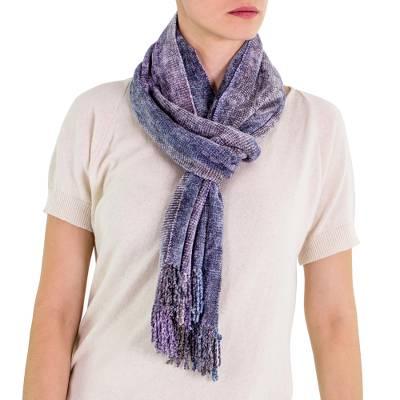 Rayon chenille scarf, 'Highland Jacaranda' - Artisan Crafted Purple Chenille Scarf from Guatemala