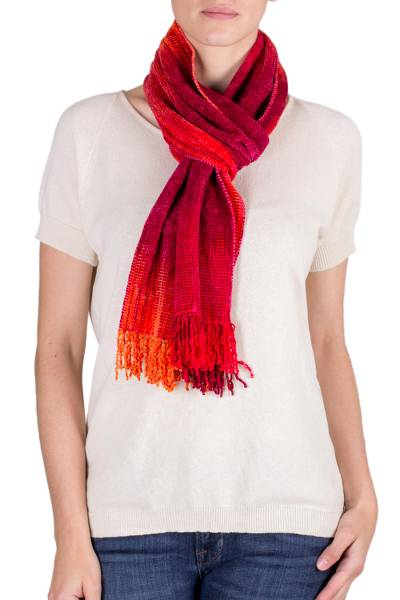 Rayon chenille scarf, 'Crimson Embrace' - Red and Burgundy Handwoven Bamboo Chenille Scarf