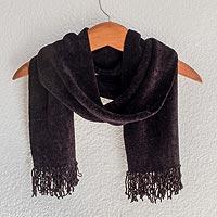 Rayon chenille scarf, 'Dark Night' - Black Bamboo Chenille Backstrap Loom Maya Scarf