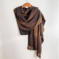 Rayon chenille shawl, 'Coffee' - Rayon Chenille Shawl Hand Woven in Earth Tones