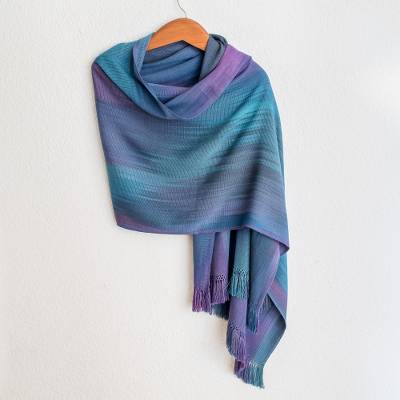 Rayon chenille shawl, 'Blue Orchids' - Guatemalan Hand Woven Shawl in Blues and Orchids