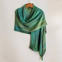 Rayon chenille shawl, 'Peaceful' - Green and Turquoise Hand Woven Rayon Chenille Shawl