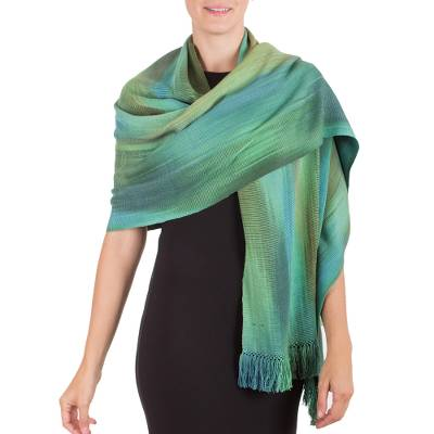 Rayon chenille shawl, 'Peaceful' - Green and Turquoise Hand Woven Guatemalan Bamboo Shawl