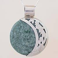 Reversible jade pendant necklace, 'Quetzal Eclipse' - Sun & Moon Sterling Silver Green Black Jade Pendant Necklace