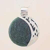 Jade pendant necklace, 'Green Quetzal Eclipse' - Eclipse Green Jade and Sterling Silver Pendant Necklace