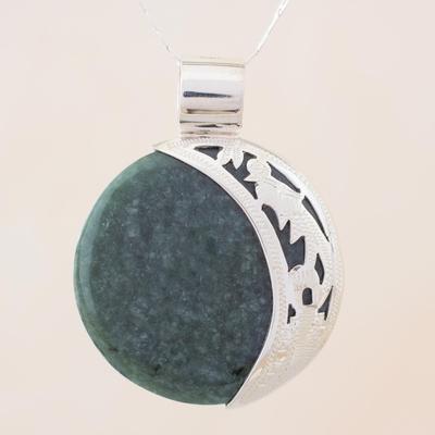 Jade pendant necklace, 'Green Quetzal Eclipse' - Eclipse Green Jade and Sterling Silver Pendant Necklace