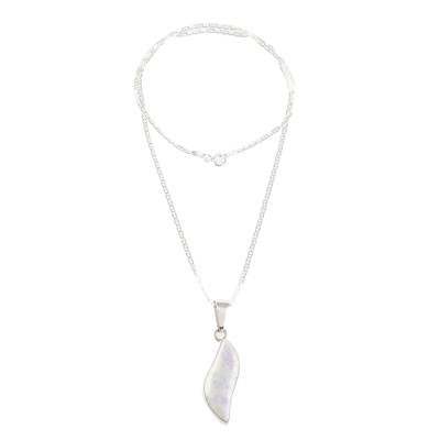 Lilac jade pendant necklace, 'Floating in the Breeze' - Guatemalan Sterling Silver and Lilac Jade Dangle Necklace