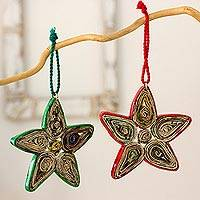 Recycled paper ornaments, 'Stars of Joy' (set of 4) - Hand Crafted Recycled Paper Christmas Ornaments (Set of 4)