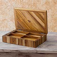 Teak box, 'Secrets of the Forest' - Guatemalan Hand Made Teak Wood Box with Compartments