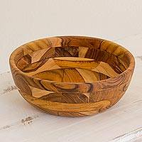 Teak serving bowl, 'Forest Mosaic'
