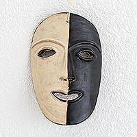 Ceramic mask, 'Bold Lenca Image' - Handcrafted Honduran Terracotta Mask in Black and Ivory