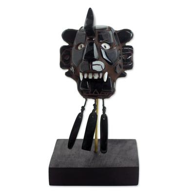 Jade mask, 'Zapotec Bat' - Hand Crafted Jade Zapotec Archaeological Replica Mask