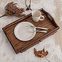 Wood folding bed tray, 'Good Morning' - Artisan Crafted Guatemalan Alder Wood Folding Bed Tray